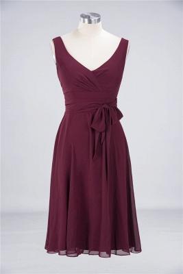 A-line Chiffon Straps V-Neck Summer Ruffles Knee-Length Bridesmaid Dress UK with Bow Sash_1
