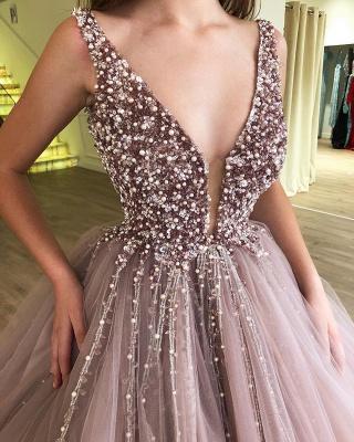 Tulle Beading Deep-V-Neck Straps Summer Prom Dress UK_3