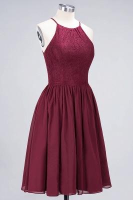 A-line Chiffon Lace Jewel Teenage Knee-Length Bridesmaid Dresses with Ruffles | Suzhoudress UK_3