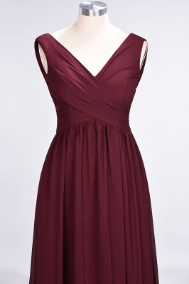 A-line Chiffon Straps V-Neck Summer Floor-Length Bridesmaid Dress UK with Ruffles_4