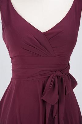A-line Chiffon Straps V-Neck Summer Ruffles Knee-Length Bridesmaid Dress UK with Bow Sash_3