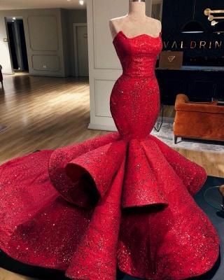 Elegant Mermaid Fit and Flare Strapless Summer Long Prom Dress UK_2