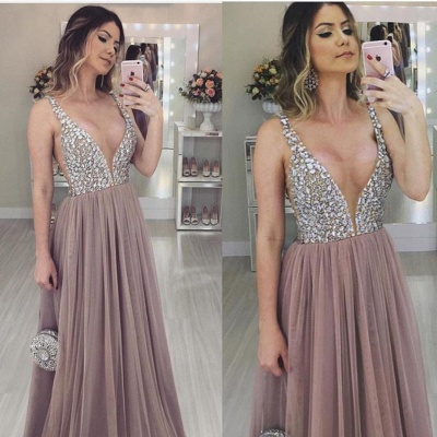 Charming Womens V-Neck Straps Teenage A-Line Tulle Online Prom Dress Sale | Suzhoudress UK_1
