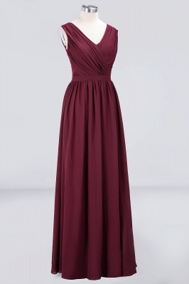 A-line Chiffon Simple Lace V-Neck Summer Floor-Length Bridesmaid Dress UK with Ruffles_3