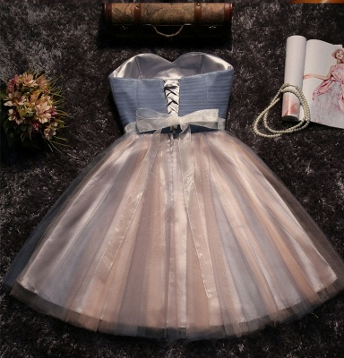 Shiny  A-line Simple Lace Strapless Summer Prom Dress UK with Bow_3