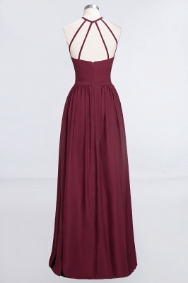 A-line Chiffon Halter Summer Floor-Length Bridesmaid Dress UK with Ruffles_2