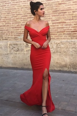 Sexy Mermaid Fit and Flare Off-the-Shoulder Summer Front-Slipt Prom Dress UK_3
