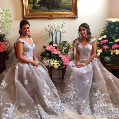 Elegant Straps Appliques Womens V-Neck Teenage A-Line Bridesmaid Dress | Suzhoudress UK_4