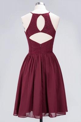 A-line Chiffon Lace Jewel Teenage Knee-Length Bridesmaid Dresses with Ruffles | Suzhoudress UK_2