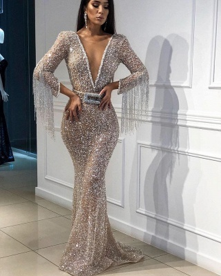 Sexy Trumpet/Mermaid Tulle Shining Sequins Womens Plunge V-Neck 3/4 Sleeves Floor-Length Online Prom Dress Sale with Tassels | Suzhoudress UK_3