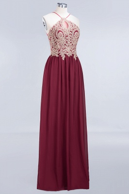 A-line Chiffon Spaghetti-Straps Summer Backless Floor-Length Bridesmaid Dress UK with Appliques_3