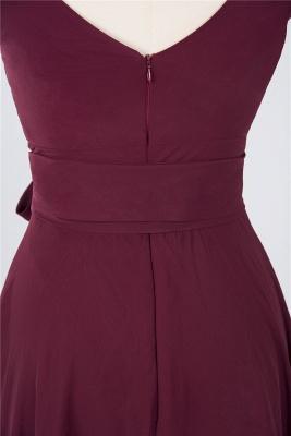 A-line Chiffon Straps V-Neck Summer Ruffles Knee-Length Bridesmaid Dress UK with Bow Sash_4