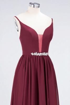 A-line Chiffon Appliques Spaghetti-Straps Deep-V-Neck Summer Floor-Length Bridesmaid Dress UK with Ruffles_5