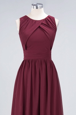 A-line Chiffon Round-Neck Summer Floor-Length Bridesmaid Dress UK with Ruffles_4