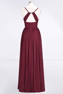 A-line Chiffon Spaghetti-Straps V-Neck Summer Floor-Length Bridesmaid Dress UK with Ruffles_2