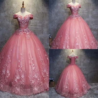 Elegant Off-The-Shoulder Ball gown Appliques Sleveless Floor-Length Simple Lace-up Prom Dress UKes UK_1