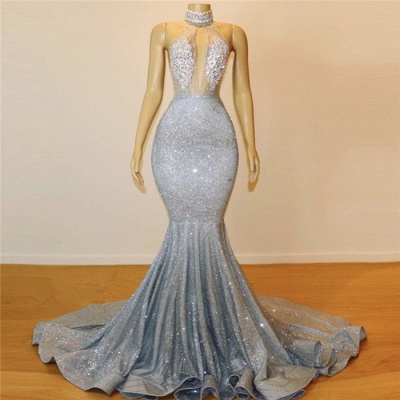 Sexy Trumpet/Mermaid Halter Teenage Floor-Length Long Online Prom Dress Sale | Suzhoudress UK_4