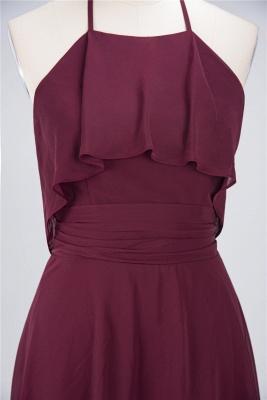 A-line Chiffon Halter Summer Knee-Length Bridesmaid Dress UK with Ruffles_4
