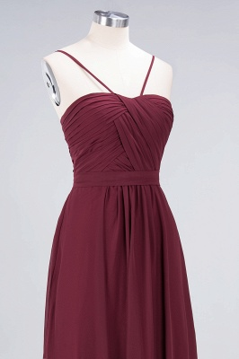 A-line Chiffon Sweetheart Spaghetti-Straps Backless Floor-Length Bridesmaid Dress UK with Ruffles_5