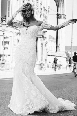 Affordable Mermaid Appliques Long Wedding Dresses Off-the-Shoulder Long Sleeves Bridal Gowns On Sale_4