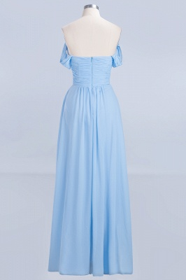 A-line Chiffon Straps Sweetheart Summer Floor-Length Bridesmaid Dress UK with Ruffles_2