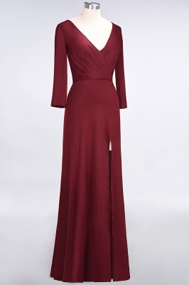 A-line Spandex V-Neck Long-Sleeves Side-Slit Floor-Length Bridesmaid Dress UK with Ruffles_33