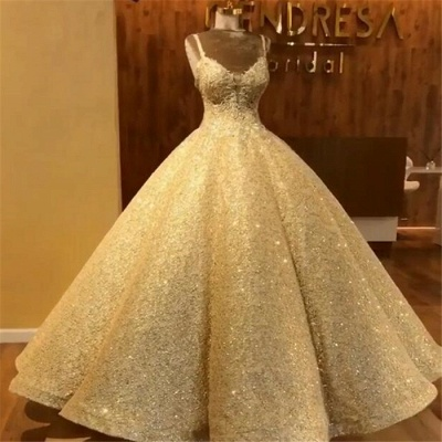 Affordable Lace Sleeveless Ball Wedding Dresses Straps Sequins Bridal Gowns Online_3