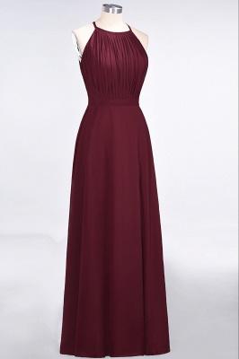A-line Chiffon Jewel Summer Floor-Length Bridesmaid Dress UK with Ruffles_3