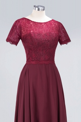 A-line Chiffon Simple Lace Round-Neck Short-Sleeves Floor-Length Bridesmaid Dress UK_5