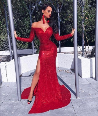 Charming Long Sleeves Best Fit Column Front Split Online Prom Dress Sale | Suzhoudress UK_1