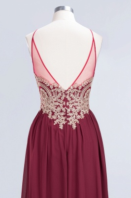 A-line Chiffon Spaghetti-Straps Summer Backless Floor-Length Bridesmaid Dress UK with Appliques_6