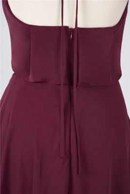 A-line Chiffon Halter Summer Knee-Length Bridesmaid Dress UK with Ruffles_5