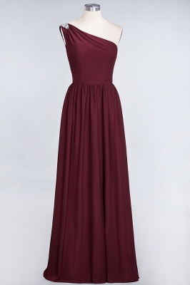 A-line Chiffon One-Shoulder Summer Ruffles Floor-Length Bridesmaid Dress UK with Beadings_2