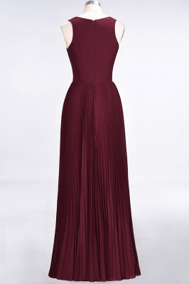 A-line Satin Chiffon V-Neck Summer Floor-Length Bridesmaid Dress UK with Ruffles_2