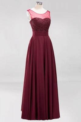 A-Line Chiffon Tulle Lace Beadings Jewel Teenage Floor-Length Bridesmaid Dresses with Sash   Suzhoudress UK_3