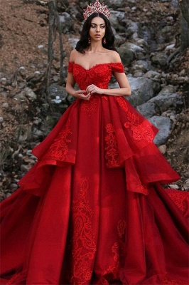 Gorgeous Appliques Off-the-Shoulder Summer Prom Dress UK_1