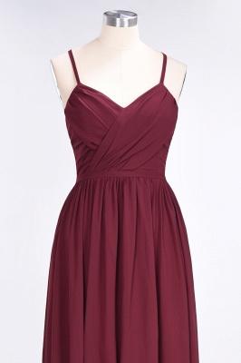A-line Chiffon Spaghetti-Straps V-Neck Summer Floor-Length Bridesmaid Dress UK with Ruffles_4