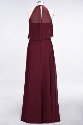 A-line Chiffon Jewel Summer Floor-Length Bridesmaid Dress UK_3