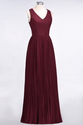 A-line Satin Chiffon V-Neck Summer Floor-Length Bridesmaid Dress UK with Ruffles_3