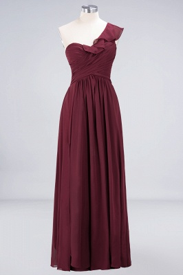 A-line Chiffon One-Shoulder Sweetheart Summer Floor-Length Bridesmaid Dress UK with Ruffles_1