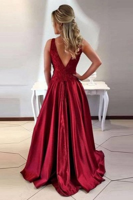 Charming Burgundy Teenage Crew Appliques A-Line Floor-Length Online Prom Dress Sale | Suzhoudress UK_3