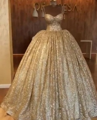 Luxurious Spaghetti Straps SleevelssBall Gown Crystals Prom Dress UKes UK_4