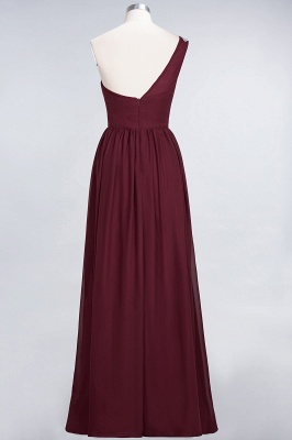 A-line Chiffon One-Shoulder Summer Ruffles Floor-Length Bridesmaid Dress UK with Beadings_3