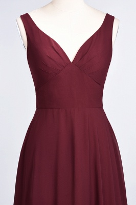 A-line Chiffon V-Neck Straps Summer Ruffles Floor-Length Bridesmaid Dress UK with Open Back_5