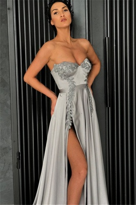 Sexy Cheap A-line Strapless Front-Slipt Prom Dress UK_3