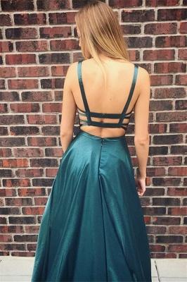 Glamour Square Neck Straps Teenage A-Line Floor-Length Online Prom Dress Sale | Suzhoudress UK_2