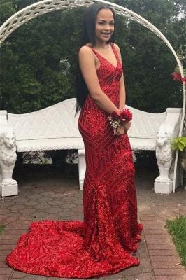 Fashion Thin Straps Teenage Womens V-Neck Shining Sequins Sexy Trumpet/Mermaid Online Prom Dress Sale   Suzhoudress UK_3
