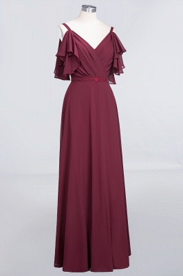 A-line Chiffon V-Neck Straps Summer Ruffles Floor-Length Bridesmaid Dress UK with Pearls_3