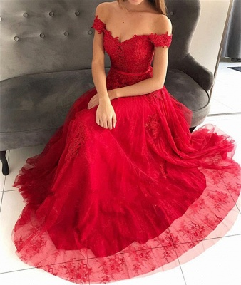 Stunning Off-the-Shoulder Appliques Tulle Fitted Floor-Length Exclusive Prom Dresses UK | New Styles_4