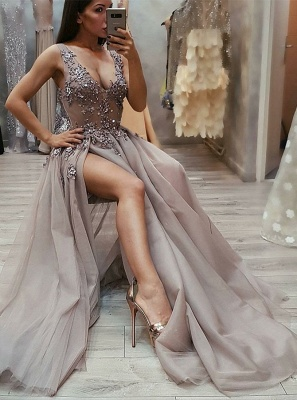 New Arrival Straps Sleeveless Front Split Fitted V-Neck Floor-Length Exclusive Prom Dresses UK   New Styles_1